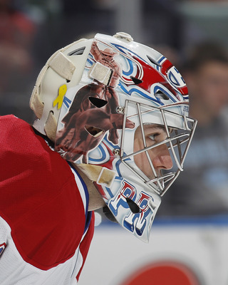 SUNRISE, FL - MARCH 3: A detailed view of the helmet of goaltender Carey Price #31 of the Montreal Canadiens as he looks up ice during play against the Florida Panthers on March 3, 2011 at the BankAtlantic Center in Sunrise, Florida. The Canadiens defeate