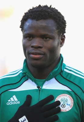 BLOEMFONTEIN, SOUTH AFRICA - JUNE 17:  Taye Taiwo of Nigeria during the 2010 FIFA World Cup South Africa Group B match between Greece and Nigeria at the Free State Stadium on June 17, 2010 in Mangaung/Bloemfontein, South Africa.  (Photo by Martin Rose/Get
