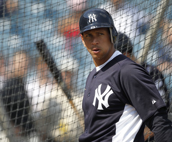 TAMPA, FL - FEBRUARY 20: Alex Rodriguez #13 of the New York Yankees watch the action during the first full team workout of Spring Training on February 20, 2011 at the George M. Steinbrenner Field in Tampa, Florida.  (Photo by Leon Halip/Getty Images)