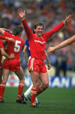 1986:  Kenny Dalglish of Liverpool celebrates during the FA Cup final against Everton at Wembley Stadium in London. Liverpool won the match 3-1.  \ Mandatory Credit: David  Cannon/Allsport