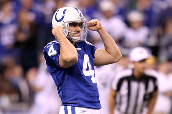 INDIANAPOLIS, IN - JANUARY 08:  Adam Vinatieri #4 of the Indianapolis Colts reacts after he kicked a successful 50-yard field goal in the fourth quarter against the New York Jets during their 2011 AFC wild card playoff game at Lucas Oil Stadium on January