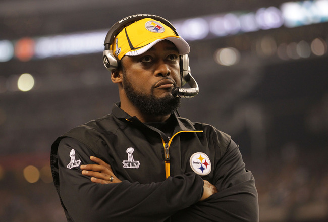 ARLINGTON, TX - FEBRUARY 06:  Head coach Mike Tomlin of the Pittsburgh Steelers looks on against the Green Bay Packers during the third quarter of Super Bowl XLV at Cowboys Stadium on February 6, 2011 in Arlington, Texas.  (Photo by Doug Pensinger/Getty I