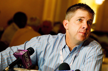 NEW ORLEANS, LA - MARCH 22:  New Orleans Saints head coach Sean Payton answers questions from the media during the NFL Annual Meetings at the Roosevelt Hotel on March 22, 2011 in New Orleans, Louisiana. Despite a NFL owners imposed lockout in effect since