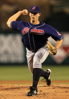 ANAHEIM, CA - SEPTEMBER 07:  Justin Masterson #63 of the Cleveland Indians pitches against the Los Angeles Angels of Anaheim in the game at Angel Stadium on September 7, 2010 in Anaheim, California.  (Photo by Jeff Gross/Getty Images)