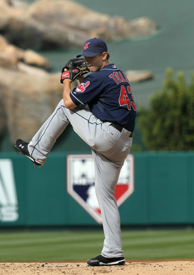 ANAHEIM, CA - SEPTEMBER 08:  Josh Tomlin #43 of the Cleveland Indians throws a pitch against the Los Angeles Angels of Anaheim on September 8, 2010 at Angel Stadium in Anaheim, California.  (Photo by Stephen Dunn/Getty Images)