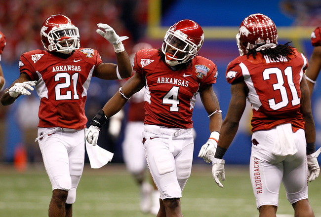 NEW ORLEANS, LA - JANUARY 04:  Rudell Crim #4 of the Arkansas Razorbacks reacts to missing an interception in the third quarter against the Ohio State Buckeyes during the Allstate Sugar Bowl at the Louisiana Superdome on January 4, 2011 in New Orleans, Lo