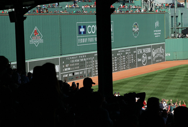BOSTON - AUGUST 01:  A View of the Green Monster during the game between the Detroit Tigers and the Boston Red Sox on August 1, 2010 at Fenway Park in Boston, Massachusetts. The Red Sox defeated the Tigers 4-3.  (Photo by Elsa/Getty Images)
