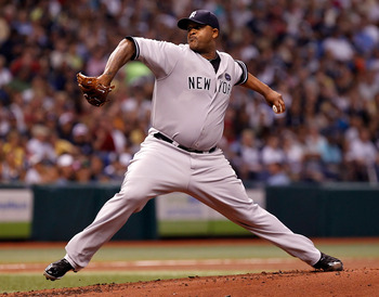 ST PETERSBURG, FL - SEPTEMBER 13:  C.C. Sabathia #52 of the New York Yankees pitches against the Tampa Bay Rays during the game at Tropicana Field on September 13, 2010 in St. Petersburg, Florida.  (Photo by J. Meric/Getty Images)