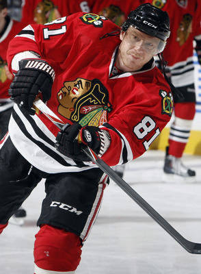 TORONTO, CANADA - MARCH 5: Marian Hossa #81 of the Chicago Blackhawks shoots during warm-up before game action at the Air Canada Centre against the Toronto Maple Leafs March 5, 2011 in Toronto, Ontario, Canada. (Photo by Abelimages/Getty Images)
