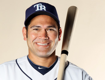 FT. MYERS, FL - FEBRUARY 22:  Johnny Damon #22 of the Tampa Bay Rays poses for a portrait during the Tampa Bay Rays Photo Day on February 22, 2011 at the Charlotte Sports Complex in Port Charlotte, Florida.  (Photo by Elsa/Getty Images)