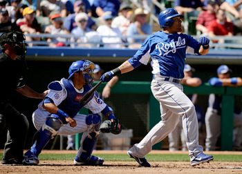 MESA, AZ - MARCH 09:  Melky Cabrera #53 of the Kansas City Royals at bat against the Chicago Cubs during the spring training baseball game at HoHoKam Stadium on March 9, 2011 in Mesa, Arizona.  (Photo by Kevork Djansezian/Getty Images)
