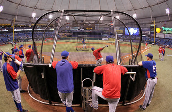 ST. PETERSBURG, FL - OCTOBER 12: Josh Hamilton of the Texas Rangers takes batting practice before Game 5 of the ALDS against the Tampa Bay Rays at Tropicana Field on October 12, 2010 in St. Petersburg, Florida.  (Photo by Mike Ehrmann/Getty Images)