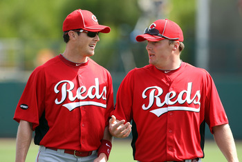 GLENDALE, AZ - MARCH 05:  (L-R) Drew Stubbs #6 and Jay Bruce #32 of the Cincinnati Reds before the spring training game against the Los Angeles Dodgers at Camelback Ranch on March 5, 2011 in Glendale, Arizona.  (Photo by Christian Petersen/Getty Images)