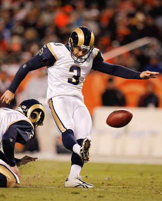 DENVER - NOVEMBER 28:  Place kicker Josh Brown #3 of the St. Louis Rams misses a 45-yard field goal attempt during the third quarter against the Denver Broncos at INVESCO Field at Mile High on November 28, 2010 in Denver, Colorado. The Rams defeated the B