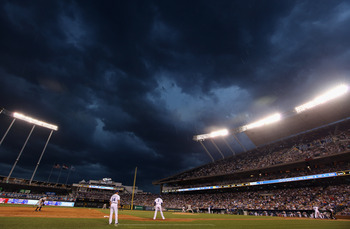 KANSAS CITY, MO - AUGUST 13:  A general view as rain begins to fall during the game between the New York Yankees and the Kansas City Royals on August 13, 2010 at Kauffman Stadium in Kansas City, Missouri.  (Photo by Jamie Squire/Getty Images)