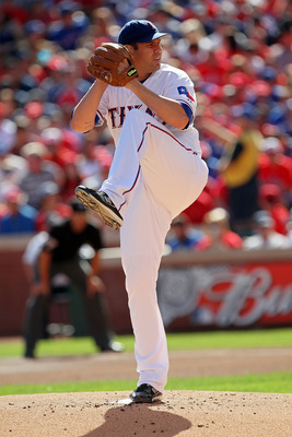 ARLINGTON, TX - OCTOBER 16:  Starting pitcher Colby Lewis #48 of the Texas Rangers throws a pitch against the New York Yankees in Game Two of the ALCS during the 2010 MLB Playoffs at Rangers Ballpark in Arlington on October 16, 2010 in Arlington, Texas.