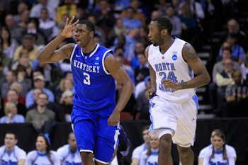 NEWARK, NJ - MARCH 27:  Terrence Jones #3 of the Kentucky Wildcats celebrates after a play against the North Carolina Tar Heels during the east regional final of the 2011 NCAA men's basketball tournament at Prudential Center on March 27, 2011 in Newark, N
