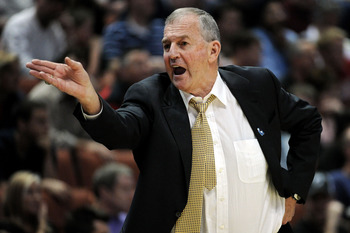ANAHEIM, CA - MARCH 26:  Head coach Jim Calhoun of the Connecticut Huskies shouts from the bench during the west regional final of the 2011 NCAA men's basketball tournament at the Honda Center on March 26, 2011 in Anaheim, California.  (Photo by Harry How