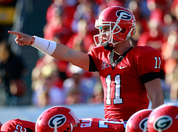JACKSONVILLE, FL - OCTOBER 30:  Quarterback Aaron Murray #11 of the Georgia Bulldogs points during the game against the Florida Gators at EverBank Field on October 30, 2010 in Jacksonville, Florida.  (Photo by Sam Greenwood/Getty Images)