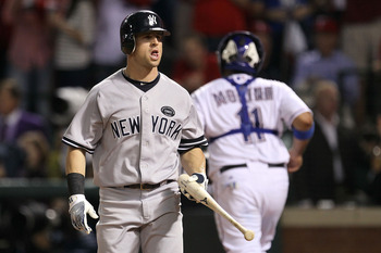 ARLINGTON, TX - OCTOBER 22:  Brett Gardner #11 of the New York Yankees reacts after striking out in the third inning of Game Six of the ALCS against the Texas Rangers during the 2010 MLB Playoffs at Rangers Ballpark in Arlington on October 22, 2010 in Arl