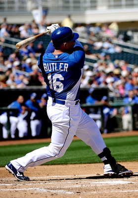 SURPRISE, AZ - MARCH 12:  Billy Butler#16 of the Kansas City Royals at bat during the spring training baseball game against the Los Angeles Dodgers at Surprise Stadium on March 12, 2011 in Surprise, Arizona.  (Photo by Kevork Djansezian/Getty Images)