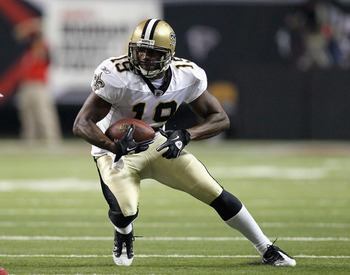 ATLANTA, GA - DECEMBER 27:  Devery Henderson #19 of the New Orleans Saints against the Atlanta Falcons at Georgia Dome on December 27, 2010 in Atlanta, Georgia.  (Photo by Kevin C. Cox/Getty Images)