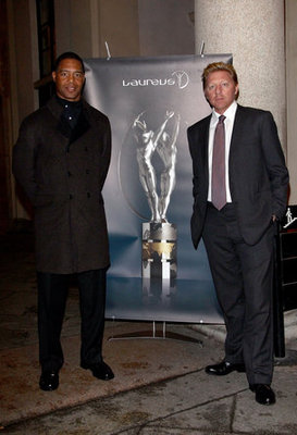 Marcus Allen with Boris Becker in Milan.