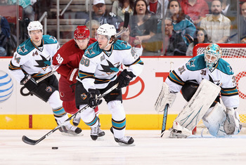 Marc Edouard Vlasic, Jason Demers, and Antti Niemi vs. Phoenix