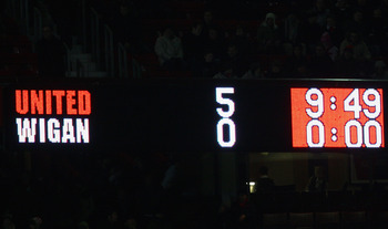 MANCHESTER, ENGLAND - DECEMBER 30: General View showing the final score at the end of the Barclays Premier League match between Manchester United and Wigan Athletic at Old Trafford on December 30, 2009 in Manchester, England. (Photo by Alex Livesey/Getty