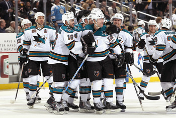 PITTSBURGH, PA - FEBRUARY 23:  Patrick Marleau #12 (C) of the San Jose Sharks celebrates with teammates Ryane Clowe #29, Devin Setoguchi #16, Marc-Edouard Vlasic #44 and Joe Pavelski #8 after Marleau scored the game winning goal against the Pittsburgh Pen