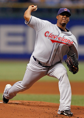 ST PETERSBURG, FL - MAY 17:  Pitcher Fausto Carmona #55 of the Cleveland Indians pitches against the Tampa Bay Rays during the game at Tropicana Field on May 17, 2010 in St. Petersburg, Florida.  (Photo by J. Meric/Getty Images)