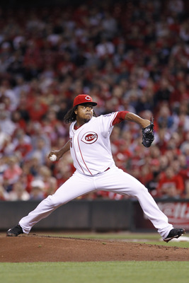 CINCINNATI, OH - SEPTEMBER 28: Edinson Volquez #36 of the Cincinnati Reds pitches against the Houston Astros at Great American Ball Park on September 28, 2010 in Cincinnati, Ohio. The Reds won 3-2 to clinch the NL Central Division title. (Photo by Joe Rob