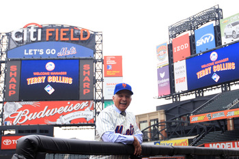 NEW YORK - NOVEMBER 23:  New York Mets new manager Terry Collins poses for photographs in the dugout after a press conference at Citi Field on November 23, 2010 in the Flushing neighborhood, of the Queens borough of New York City.  (Photo by Chris McGrath