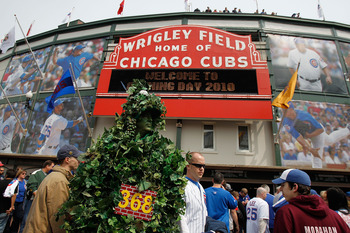 CHICAGO - APRIL 12: A fan dressed as the outfield ivy wall walks in front of Wrigley Field before the Opening Day game between the Chicago Cubs and the Milwaukee Brewers on April 12, 2010 in Chicago, Illinois. (Photo by Jonathan Daniel/Getty Images)