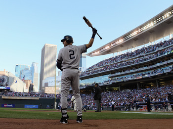 MINNEAPOLIS - OCTOBER 07:  Derek Jeter #2 of the New York Yankees waits on deck in the first innning against the Minnesota Twins during game two of the ALDS on October 7, 2010 at Target Field in Minneapolis, Minnesota.  (Photo by Elsa/Getty Images)