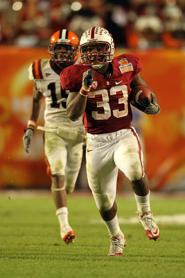 MIAMI, FL - JANUARY 03: Stepfan Taylor #33 of the Stanford Cardinal runs the ball in the second half against the Virginia Tech Hokies during the 2011 Discover Orange Bowl at Sun Life Stadium on January 3, 2011 in Miami, Florida. (Photo by Mike Ehrmann/Get