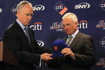 NEW YORK - NOVEMBER 23: New York Mets General Manager Sandy Alderson introduces the new Mets manager Terry Collins during a press conference  at Citi Field on November 23, 2010 in the Flushing neighborhood, of the Queens borough of New York City.  (Photo