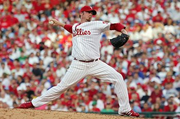 PHILADELPHIA - OCTOBER 03:  Brett Myers #39 of the Philadelphia Phillies pitches against the Colorado Rockies during Game One of the National League Divisional Series at Citizens Bank Park on October 3, 2007 in Philadelphia, Pennsylvania.  (Photo by Jim M