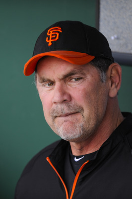 SCOTTSDALE, AZ - FEBRUARY 26: Bruce Bochy manager of the San Francisco Giants looks on during a spring training game against the Los Angeles Dodgers at Scottsdale Stadium on February 26, 2011 in Scottsdale, Arizona. (Photo by Rob Tringali/Getty Images)