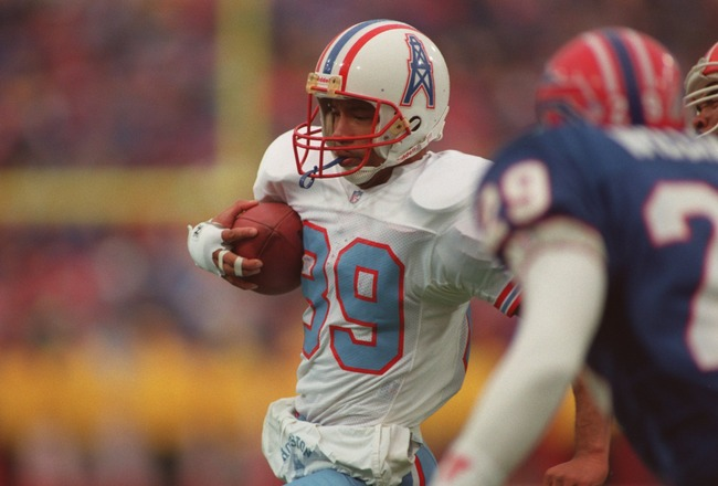 3 Jan 1993:  Wide receiver Webster Slaughter of the Houston Oilers carries the football after making a catch during the Oilers 41-38 loss to the Buffalo Bills at Rich Stadium in Orchard Park, New York.  Mandatory Credit: Rick Stewart/ALLSPORT