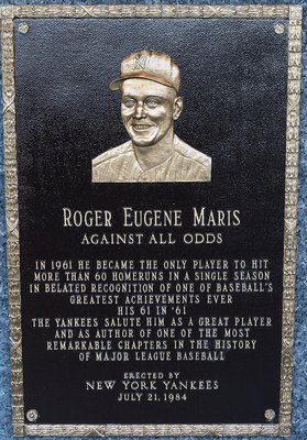 NEW YORK - MAY 02:  The plaque of Roger Maris is seen in Monument Park at Yankee Stadium prior to the game between the New York Yankees and the Chicago White Sox on May 2, 2010 in the Bronx borough of New York City. The Yankees defeated the White Sox 12-3