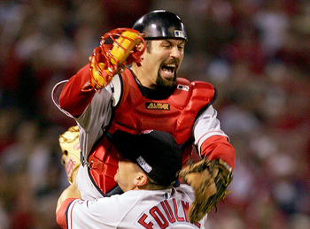 ST LOUIS - OCTOBER 27:  Jason Varitek #33 and Keith Foulke #29 of the Boston Red Sox celebrate after defeating the St. Louis Cardinals 3-0 in game four of the World Series on October 27, 2004 at Busch Stadium in St. Louis, Missouri. (Photo by Jed Jacobsoh