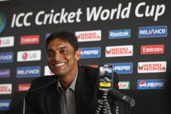 COLOMBO, SRI LANKA - MARCH 17:  Shoaib Akhtar of Pakistan at a press conference to announce his retirement from international cricket  at the R Premadasa International Stadium on March 17, 2011 in Colombo, Sri Lanka.  (Photo by Michael Steele/Getty Images