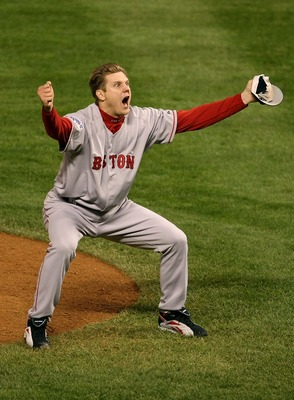 DENVER - OCTOBER 28:  Jonathan Papelbon #58 of the Boston Red Sox celebrates after winning Game Four by a score of the 4-3 to win the 2007 Major League Baseball World Series in a four game sweep of the Colorado Rockies at Coors Field on October 28, 2007 i