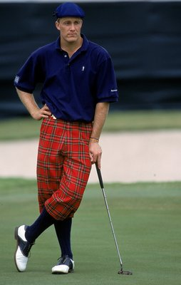 31 Oct 1999: Stuart Appleby leans on his club as he wears knickers in honor of Payne Stewart during The Tour Championship at the Champions Golf Club in Houston, Texas.