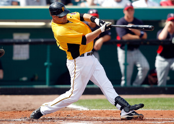 BRADENTON, FL - MARCH 02:  Catcher Ryan Doumit #41 of the Pittsburgh Pirates fouls off a pitch against the Minnesota Twins during a Grapefruit League Spring Training Game at McKechnie Field on March 2, 2011 in Bradenton, Florida.  (Photo by J. Meric/Getty