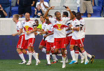 HARRISON, NJ - SEPTEMBER 11: Thierry Henry #14 of the New York Red Bulls acknowledges the fans after scoring a first half goal against the Colorado Rapids during the game at Red Bull Arena on September 11, 2010 in Harrison, New Jersey. The Red Bulls defea