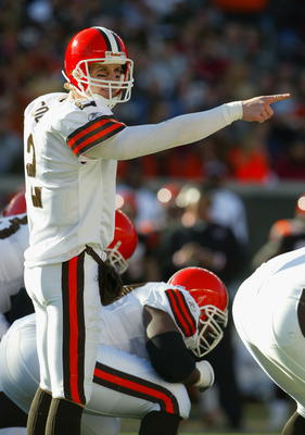 CINCINNATI - DECEMBER 28:  Quarterback Tim Couch #2 of the Cleveland Browns points out the defensive alignment of the Cincinnati Bengals during the game on December 28, 2003 at Paul Brown Stadium in Cincinnati, Ohio. The Browns won 22-14.(Photo by Andy Ly