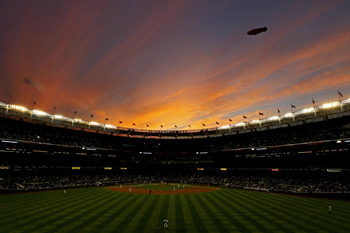 NEW YORK - OCTOBER 20:  The Conan blimp flies over Yankee stadium as the New York Yankees play against the Texas Rangers in Game Five of the ALCS during the 2010 MLB Playoffs at Yankee Stadium on October 20, 2010 in the Bronx borough of New York City.  (P