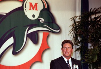 13 Mar 2000:  Dan Marino of the Miami Dolphins talks to the press during his retirement ceremony at Dolphin Headquarters in Davie, Florida. Mandatory Credit: Eliot J. Schechter  /Allsport
